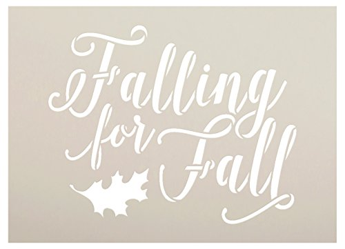 Leaves Autumn Templates - Falling for Fall Stencil by StudioR12| Script Letters | Reusable Word Template for Painting on Wood | DIY Home Decor Signs Fall Farmhouse Leaves Autumn Chalk Mixed Media Craft Select Size (10