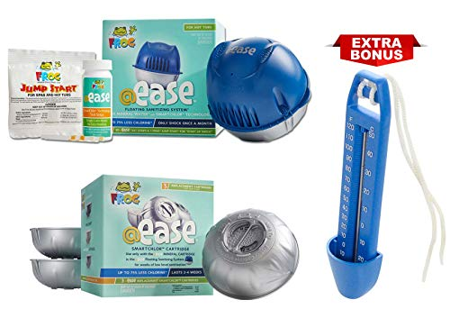 Spa Frog @Ease Floating Sanitizing System and 3 Refill SmartChlor @ Ease Replacement Mineral Cartridges, Jump Start Shock, Test Strips Plus Bonus Blue Paradise Brand Blue Spa Thermometer