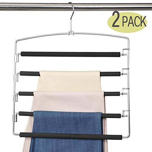 (MeetU Pants Hangers 5 Layers Stainless Steel Non-Slip Foam Padded Swing Arm Space Saving Clothes Slack Hangers Closet Storage Organizer for Pants Jeans Trousers Skirts Scarf Ties Towels(Pack of 2))