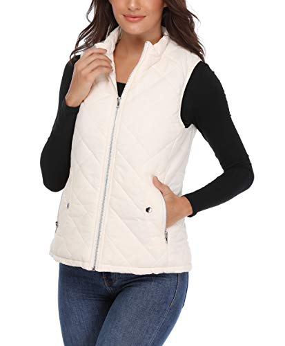 Quilted Down Vest - MISS MOLY Zip Up Stand Collar Lightweight Warm Quilted Gilets Padded Vest,Beige,Medium(US-10)