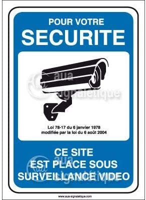 Autocollant PROPRI/ÉT/É PRIV/ÉE sous vid/éo Surveillance 24h//24-150x105 mm Vinyl adh/ésif AUA SIGNALETIQUE