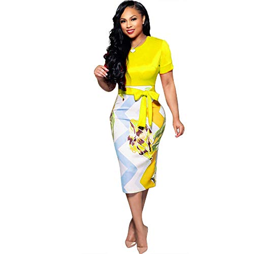 Women Sexy Stretch Floral Crew Neck Bodycon Midi Party Club Pencil Dress Pull on Closure Yellow 2XL