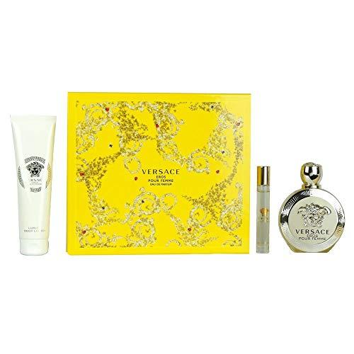 VERSACE Eros 3 Piece Eau De Parfums Bag Tag Set for Women - De Cologne Eau Gift Set
