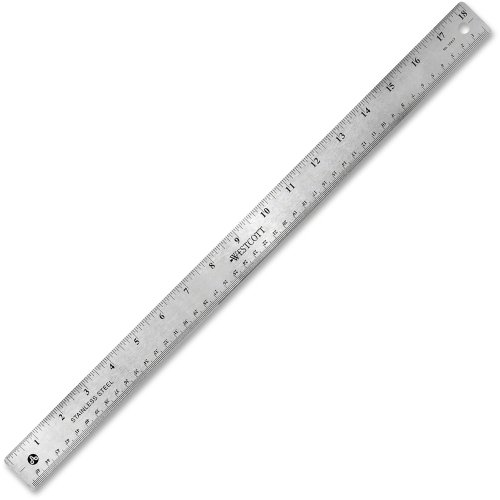 Westcott 10417 Stainless Steel Office Ruler with Non Slip Cork Base, 18-Inch
