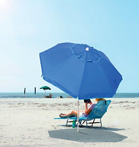 Rio Beach 6 1/2' Integrated Sand Anchor Umbrella, Blue