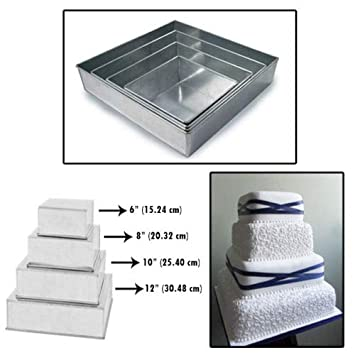 Set of 4 Tier Square Multilayer Birthday Wedding Anniversary Cake Tins Cake Pans Cake Moulds 6 .8 .10 .12 – all 3 Deep