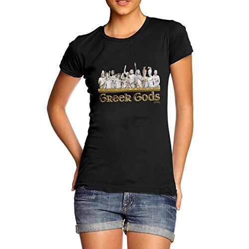 Women Mythological Theme Greek Gods Print T-Shirt Black Large