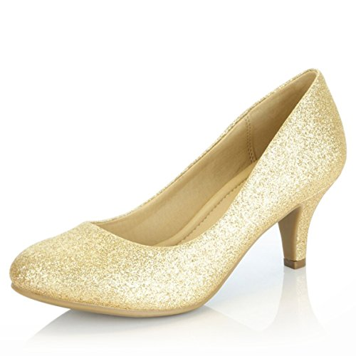DailyShoes Women's Comfortable Elegant High Cushioned Casual Low Heels Formal Office Lady Round Toe Stiletto Pumps Shoes, Gold Gl, 8 B(M) US