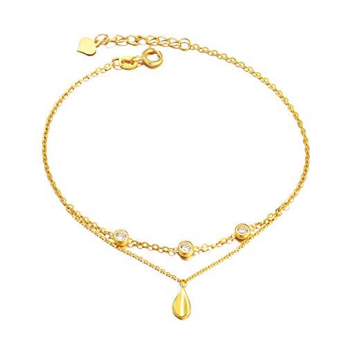 18K Yellow Gold Bracelets for Women, Real Gold Adjustable Bracelet, Stone Gold Chain Bracelet, 6.7