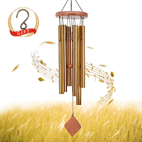 SuninYo Wind Chimes Outdoor,30 inches Amazing Grace Wind Chimes with S Hook(6 Tubes,Golden) (Best Amazing Grace Performance)