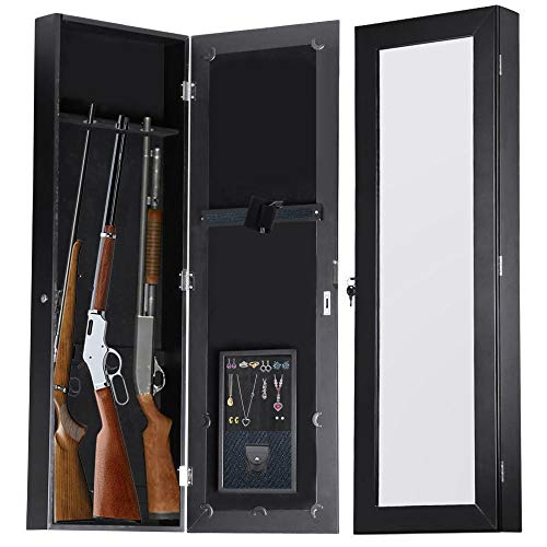 Gun Cabinet Mirror Armoire for Small Hunting Rifles/Tactical Guns (42.5 x 14 x 3.5 inches)