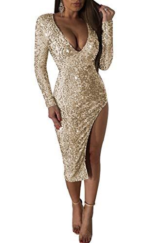 Women's Sexy Sequins Deep V Neck Long Sleeve Side Split Bodycon Mini Dress Gold ()