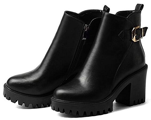 Idifu Kvinna Mode Plattformkickhäl Grova Klackar Spänne Motoriska Boots Med Dragkedja Svart