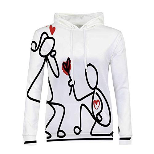 Engagement Party Decorations Stylish Hoodies,Hand Drawn Kidergarten Themed Wedding Proposal Image for Girls,M