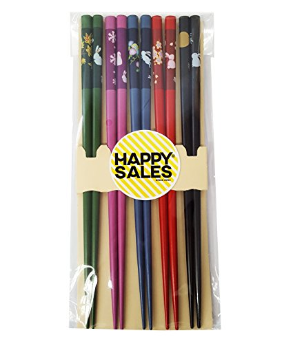 (Happy Sales HSCH82/S, Japanese Design 5 Pairs Chopsticks Gift Set Happy Bunny Rabbit, Multicolor)