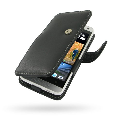 PDAir Book Case for HTC One Mini Black Hand Made Leather Soft Protective Carry Cover with belt ()