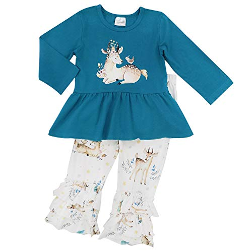 So Sydney Toddler 2 Pc Christmas Ruffle Pant Tunic Top Holiday Girls Boutique Clothing Outfit (M (4T), Deer & Friends)
