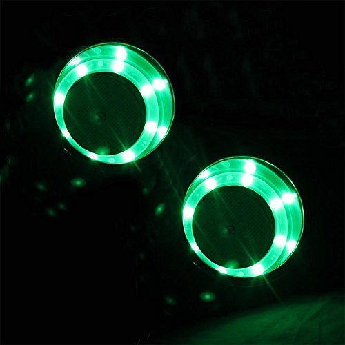 2 Pieces Green LED Stainless Steel Cup Drink Holder with Drain & LED Marine Boat Rv Camper - Stainless Led