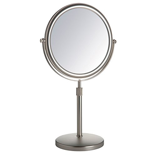 Jerdon JP4045N 9-Inch Vanity Mirror with 5x Magnification, Nickel - Lighting Chrome Landscape Classic
