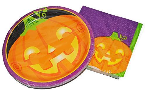 Halloween Jack-o-Lantern Paper Plates and Napkins for 18 (Jack -O- Lantern)