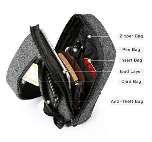 sul scuro petto grigio furto gli tasca anti uomini di impermeabile cuoio Bandolier multifunzione porta ricarica Borsa USB con Moontang casual sintetico grigio RfZqax1wPn