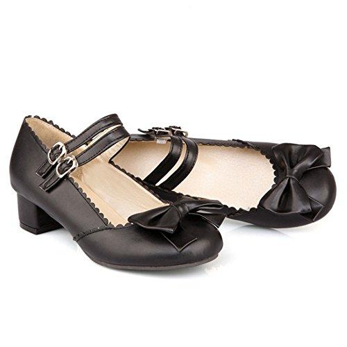 COOLCEPT Mujer Moda Al Tobillo Tacon Bajo Bombas Zapatos with Bowknot Negro