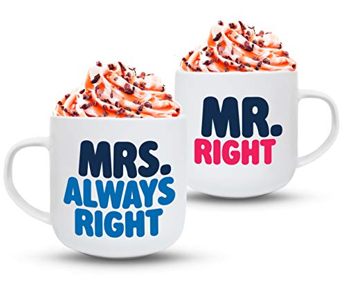 Gifffted Mr Right Mrs Always Right Coffee Mugs Set, Funny His and Hers Couple Marriage Wedding Anniversary Gifts, Home Him Her Engagement Gift Ideas For Friends Couple Newlywed, Parents Mug, Cups V2