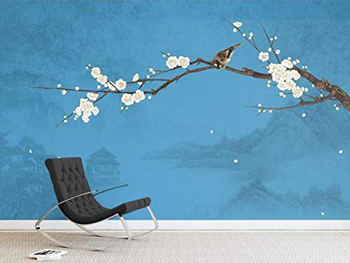 3D Wallpaper Tv Wall Decor Sticker Chinese Classical Plum Blossom Pen and Bird Landscape Modern Wall Paper Wall Stickers for Bedroom Living Room (Blossoms Plum Color What Are)