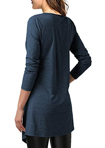 Mystry Zone Women's Shirts and Blouse Lace Buttons Neck Solid Color Tunics Blouse Navyblue Large by Mystry Zone (Image #3)
