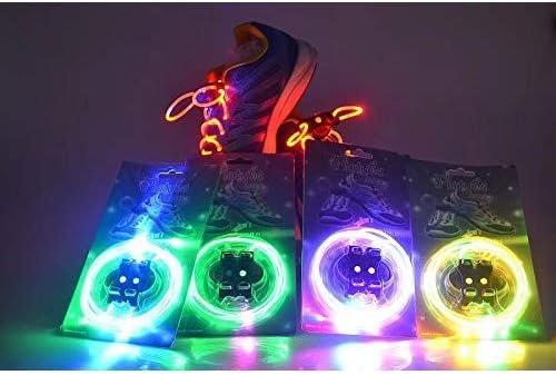Doyeemei 蛍光不精な靴ひも 魔法のように点滅する靴ひも ランダムな色 照明の防水の輝いた靴ひも 明るいLEDのひも