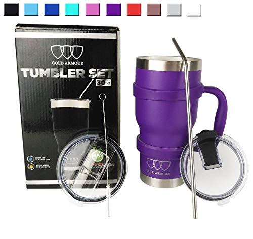 30 oz Tumbler – 6 Piece Stainless Steel Insulated Water & Coffee Cup Tumbler with Straw, 2 Lids, Handle, Straw – 18/8 Double Vacuum Insulated Travel Flask (Purple)