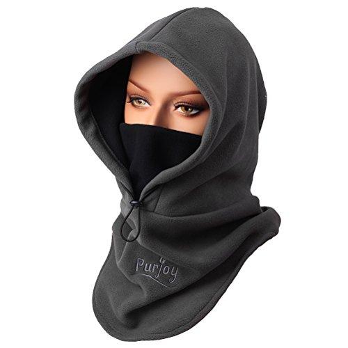 Purjoy Warm Thickening Fleece Balaclava Full Face Mask Hats Neck Warmer Outdoor Winter Sports(Gray)