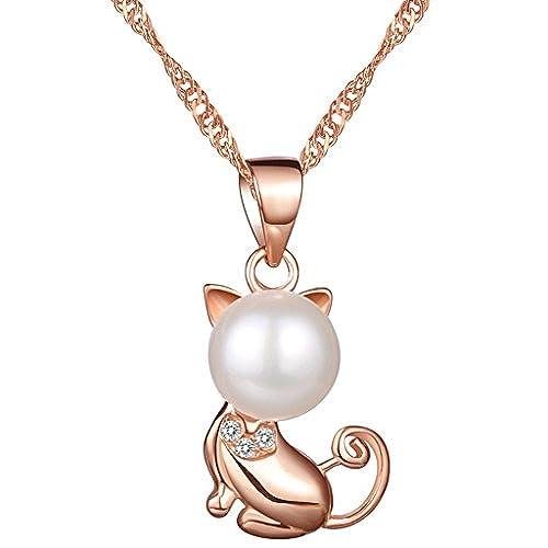 aac10727d614 Yumilok Jewelry – Pendientes de plata fina 925 plata bañado en oro rosa  perlas circonitas cúbicas