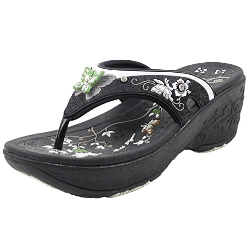 Gold Pigeon Shoes GP Wedge Platform Thong Sandals for Women: 8161 Black, EU38 (US Size 7-7.5)