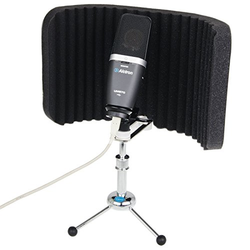 Alctron PF58 Microphone Isolation Shield with Stand Mic Windscreen Foam Metal Acoustic Diffuser Screen Mask ()