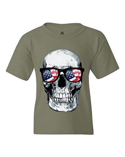 Skull USA Sunglasses Youth's T-Shirt Sugar Skulls Shirts Youth Large Military Gre...