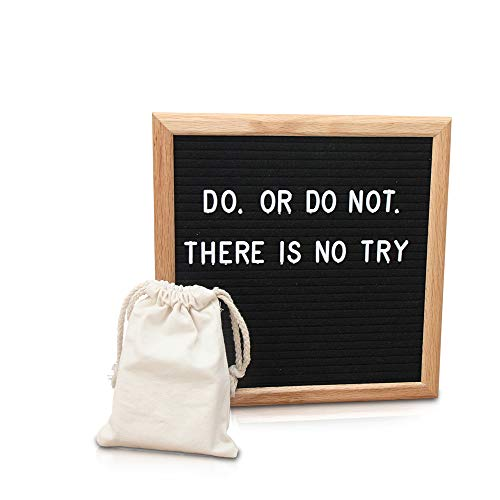 Premium 10x10 Inch Black Felt Letter Board with Letters, Emojis, Icons and Symbols | Oak Frame Changeable Letter Board | Wall Mount, Free Canvas Bag, Tripod Stand -