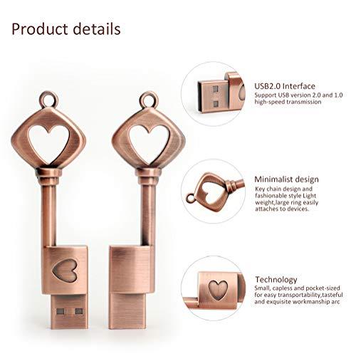 LEIZHAN Flash Drive 64GB USB Flash Drive Metal Key of Love Key Chain high Speed USB 2.0 Pen Drive Memory Stick Tablet u Disk pendrive
