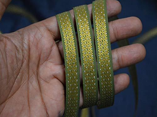 Wholesale Olive Green Brocade Jacquard Saree Border Trimming Sari Jacquard Ribbon Trim Metallic Decorative Trim by 9 Yards Crafting Sewing Laces