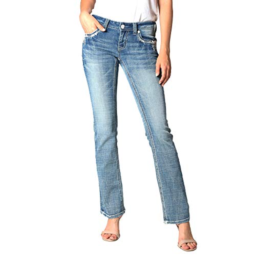 Women's Light Wash Aztec Embellished Easy Bootcut Jeans | EB-61292 - Size 32