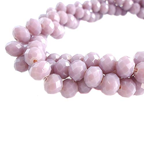 - BeadsOne 4mm - 90 pcs - Glass Rondelle Faceted Beads Lilac Purple for jewerly Making findings Handmade jewerly briolette Loose Beads Spacer Donut Faceted Top Quality 5040 (C89)