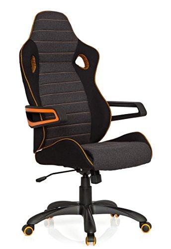 hjh OFFICE 621850 Gaming Stuhl / Bürostuhl RACER PRO IV Stoff schwarz/grau/orange