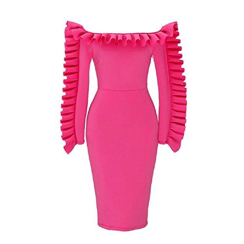 Bslingerie Lunghe Vestito Bodycon Un Maniche Off Rosa Spalla Pink Ladies Pezzo aU7nar