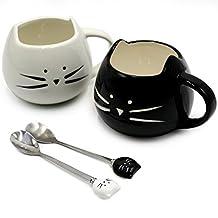 Koolkatkoo Cute Ceramic Black & White Kitty Mugs and Spoons Set 12 oz | Coffee Mug Gift, Cat Lover Gift, Anniversary Gift