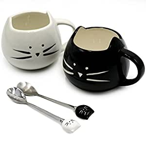 Koolkatkoo Cute Ceramic Black & White Kitty Mugs and Spoons Set 12 oz | Coffee Mug Gift, Cat Lover Gift, Anniversary Gift