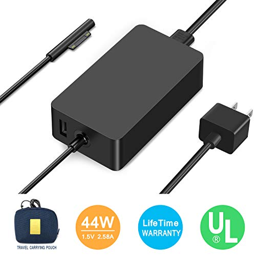 Surface Pro Charger,Surface Book Charger [UL Certified Updated Version]44W 15V 2.58A Power Supply Compatible Microsoft Surface Pro 6 Pro 5 Pro 4 Pro 3 Surface Laptop 1/2 Surface Go Include Travel Case by Ostrich