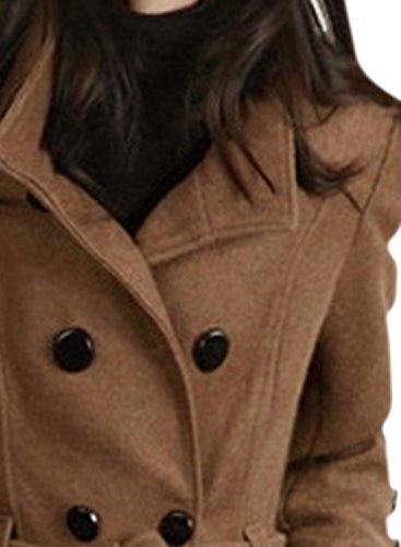 ACHICGIRL Women's Fashion Double Breasted Woolen Trench Coat with Belt, Coffee S