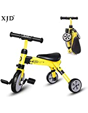 XJD 2 in 1 Kids Tricycle Baby Trike Baby Balance Bike Lightweight & Folding Trike with Carry Bag for 2-4 Years Old Kids Toddler Boys Girls 3 Wheels Kids Walking Tricycle
