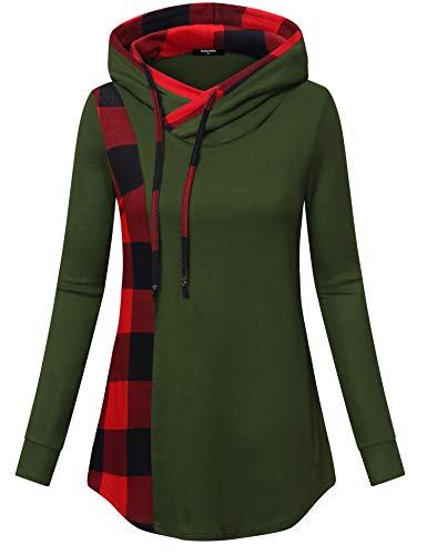 Lotusmile Casual Hoodies for Women Ladies Plaid Pullover Plus Size Sweatshirts with Drawstring Patchwork Tunic Blouses with Pockets Long Sleeve Tops Shirts for Fall Winter,Army Green L - Sweatshirt Ladies Hoody Pullover