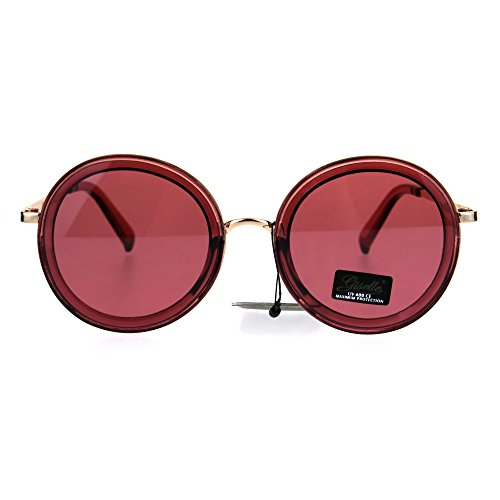 Womens Luxury Designer Fashion Round Retro Sunglasses - Sunglasses Burgundy